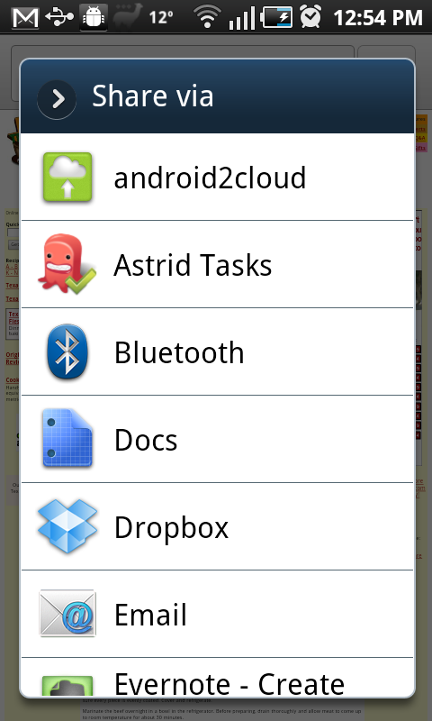 Android web page share options