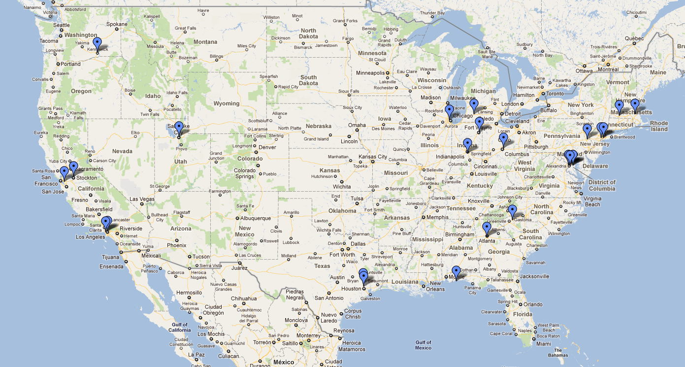 caption: Examples of HTC device locations that CNET extracted from Microsoft's Live.com location database.