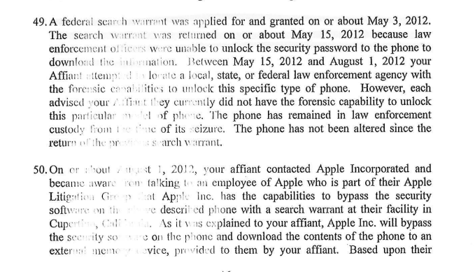 """Excerpt from ATF affidavit, which says Apple """"has the capabilities to bypass the security software"""" for law enforcement."""