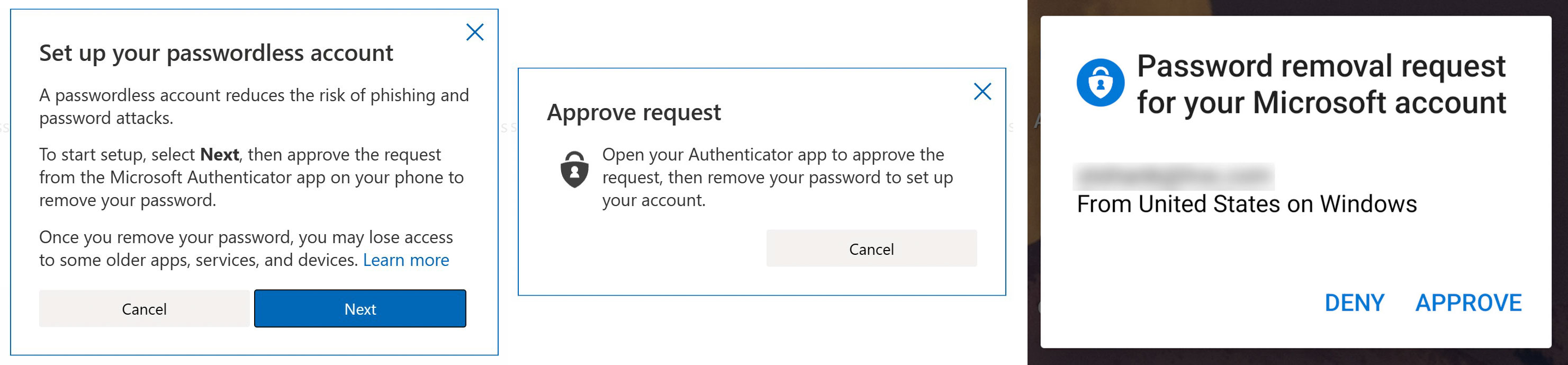 Microsoft account passwordless approval process