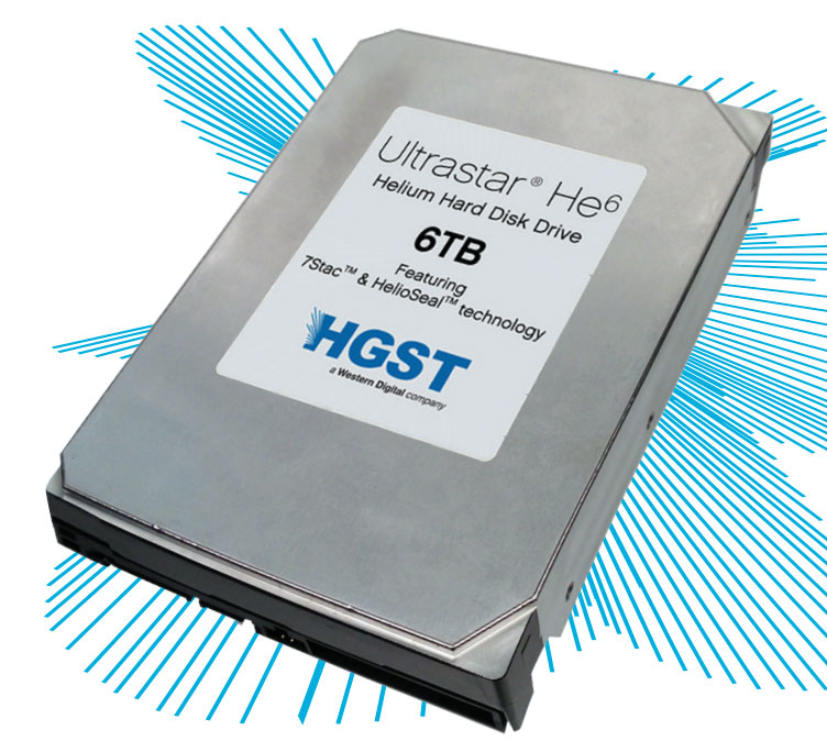 The 6TB helium-filled Ultrastar He6 from Western Digital subsidiary HGST.