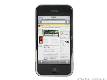 The iPhone's Safari Web browser supports full HTML pages.