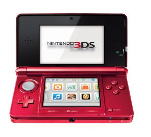 """Nintendo's new """"Flame Red"""" 3DS portable."""