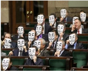Members of Parliament in Poland express their opposition to ACTA by holding paper Guy Fawkes masks in front of their faces. The masks are used by members of Anonymous.