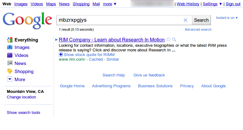 The original hand-coded honeypot search result on Google.