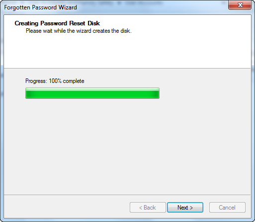 Reset disk created
