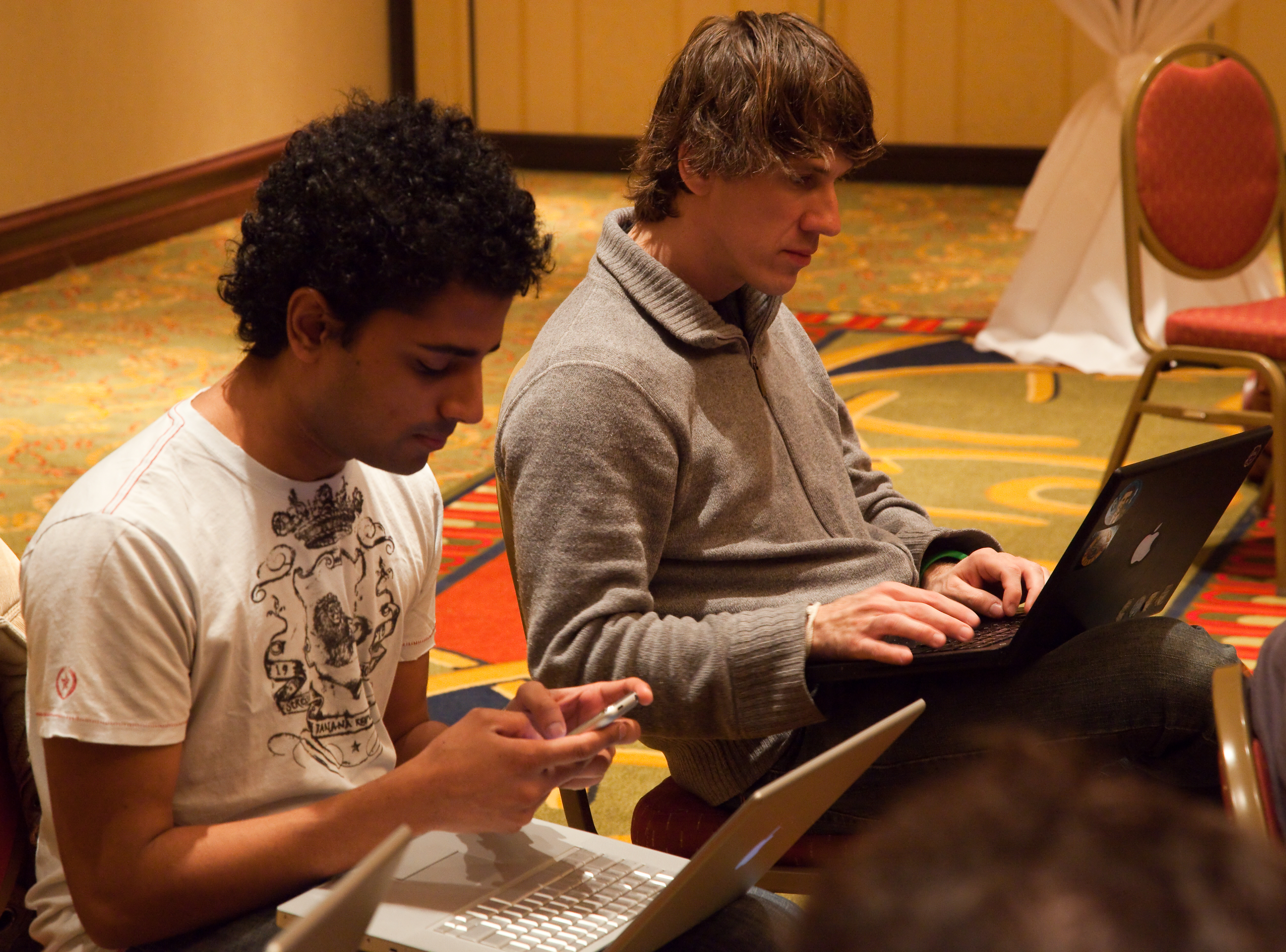 Foursquare co-founders Naveen Selvadurai (left) and Dennis Crowley.