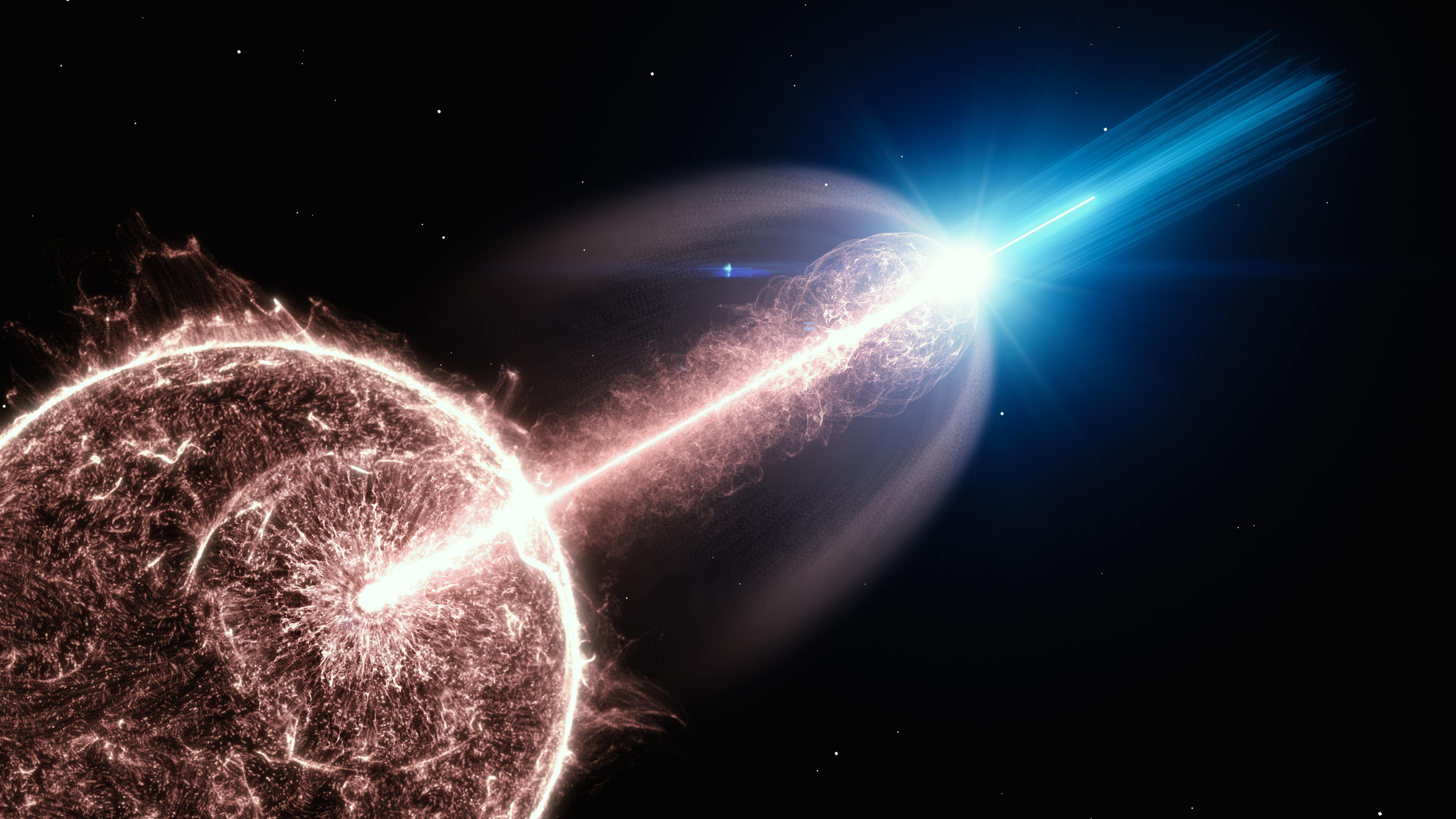 Collapsing star  produces fantastic explosion