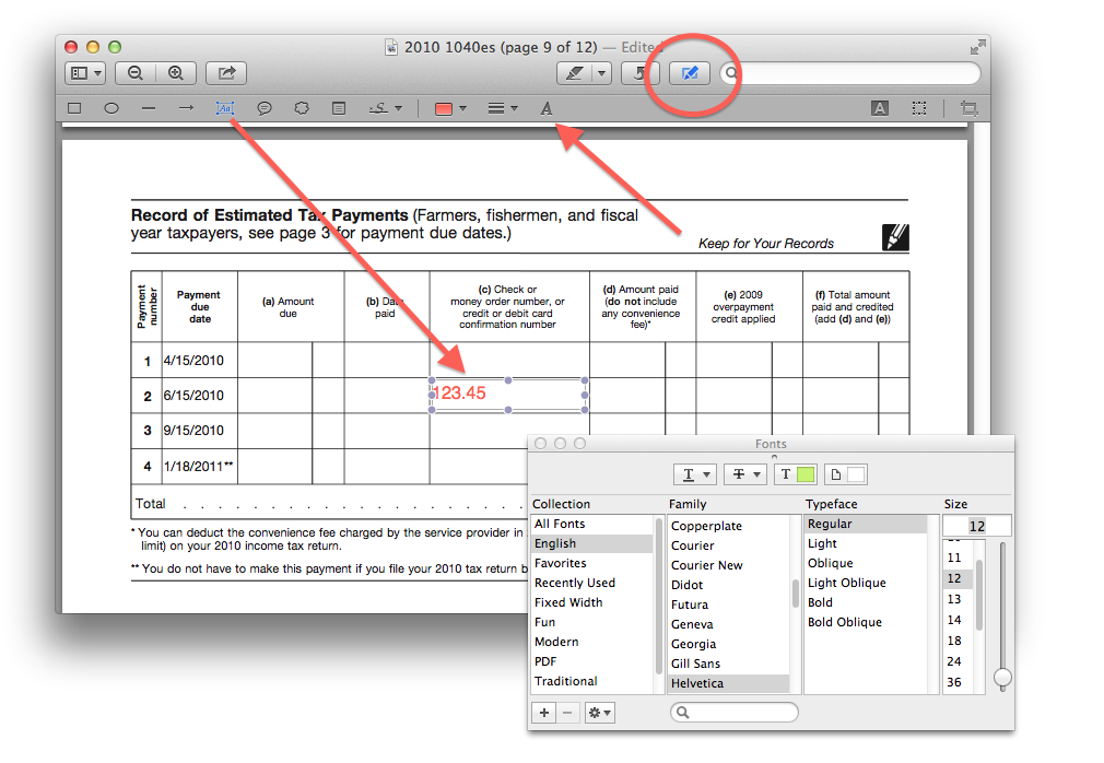 Text boxes in OS X Preview