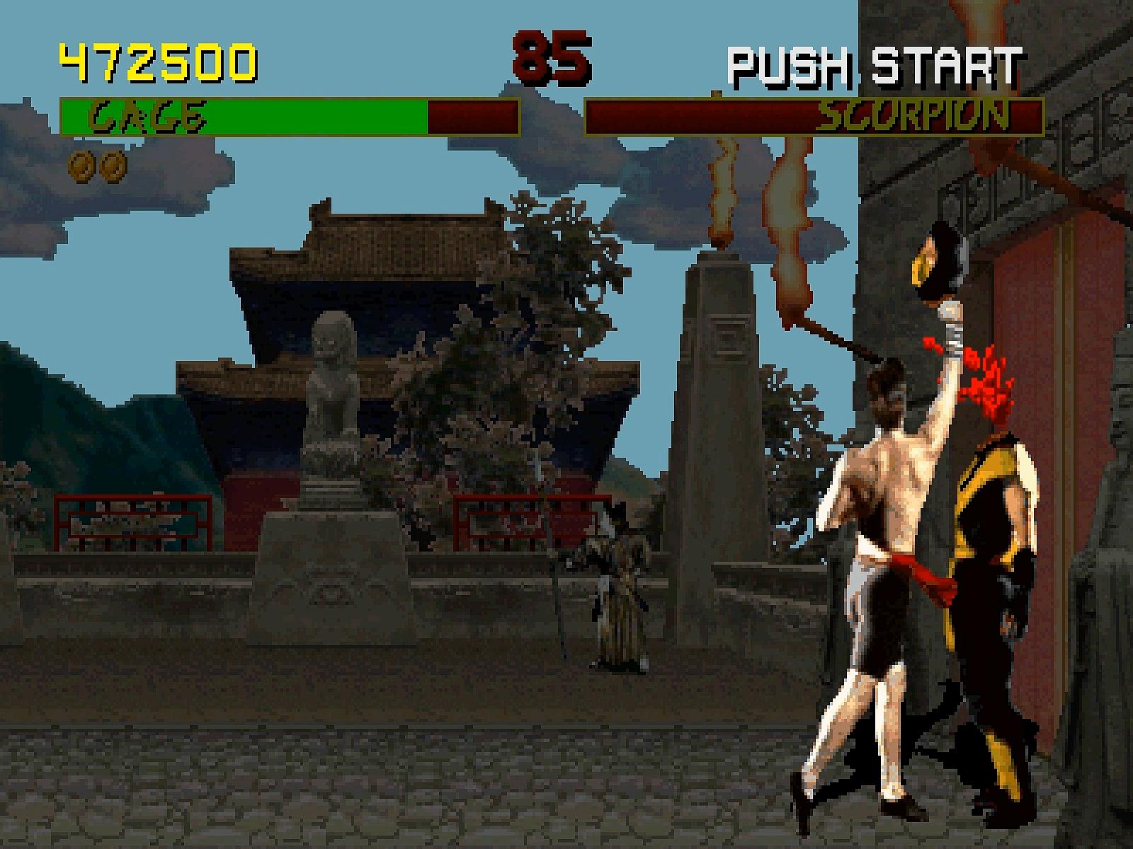 A scene from the video game Mortal Kombat.