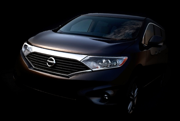 Nissan's upcoming Quest minivan emerges from the shadows.