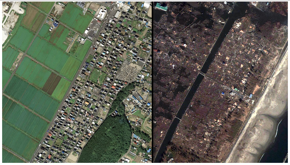 Before and after the quake, Arahama in Sendai.
