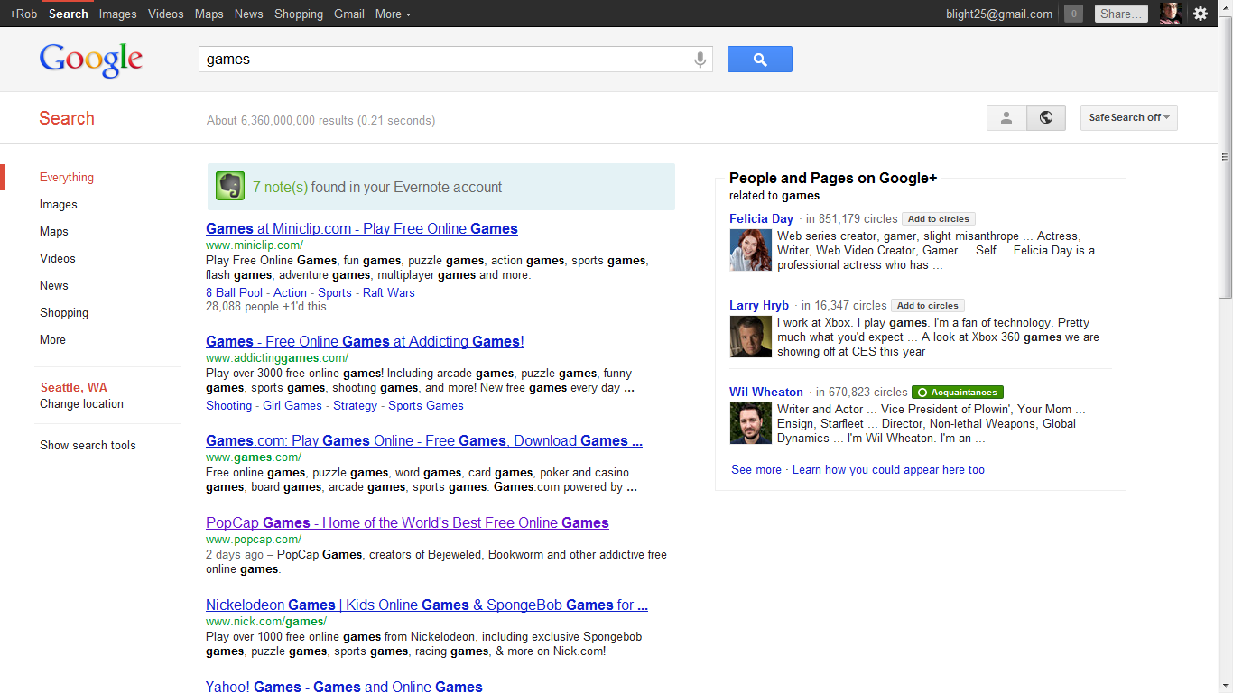 Result: Personal results don't appear in the main search area.