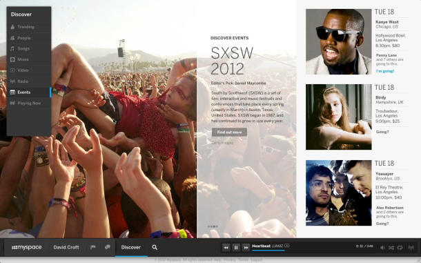 The new-look MySpace.