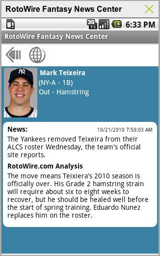 Fantasy sports news for free on your Android phone, courtesy of RotoWire Fantasy news.