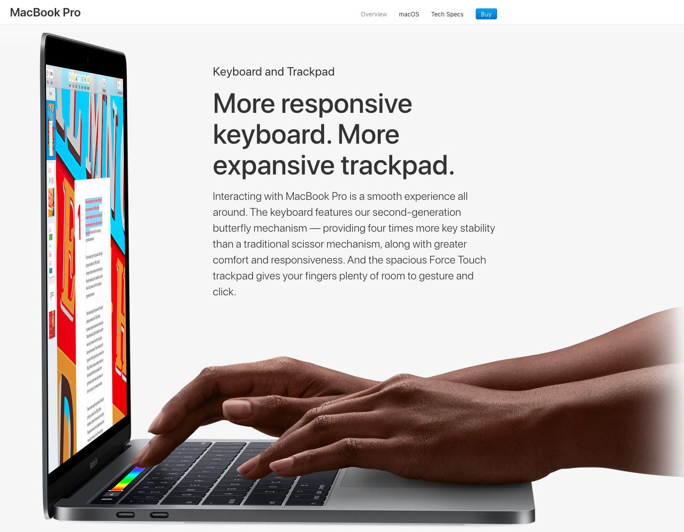 Last year on its website, Apple talked up the butterfly mechanism.