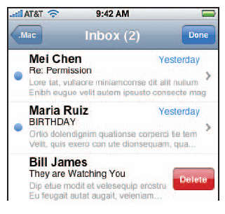 Deleting a lot of e-mail on the iPhone is a lot of work.