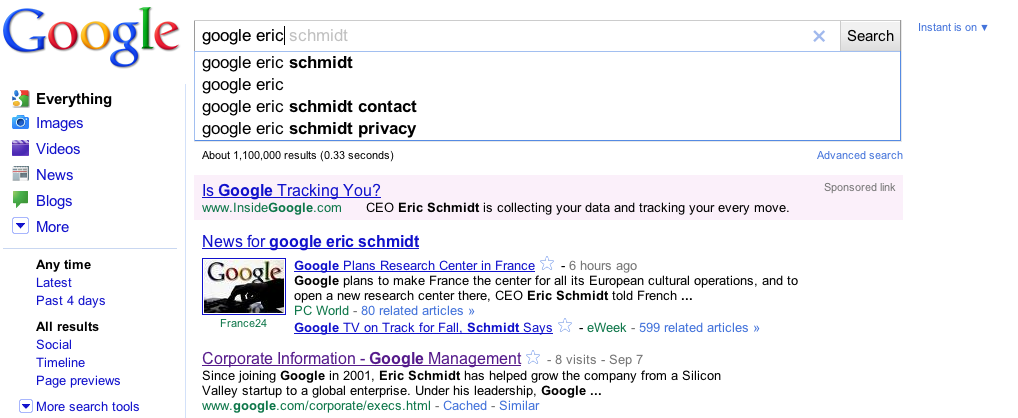 "Google initially rejected the ad shown here for keywords like ""google eric schmidt"" saying it violated its policies on using trademarks in ads, although it does allow their use in some cases."