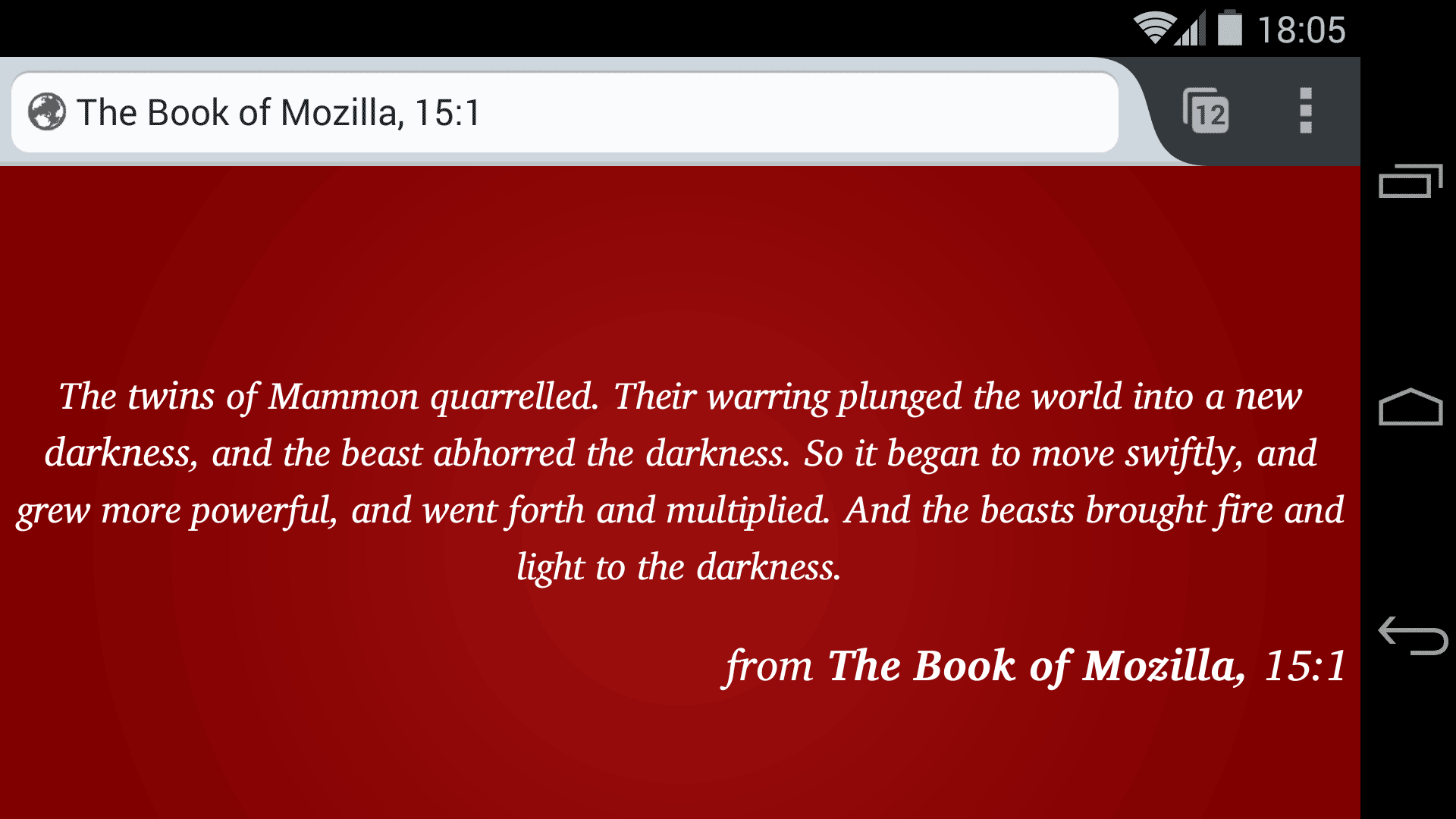 """A """"Book of Mozilla"""" easter egg criticizes Apple and Google as greedy in the mobile market."""