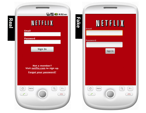 The fake Netflix Android app is easily confused for the real one.
