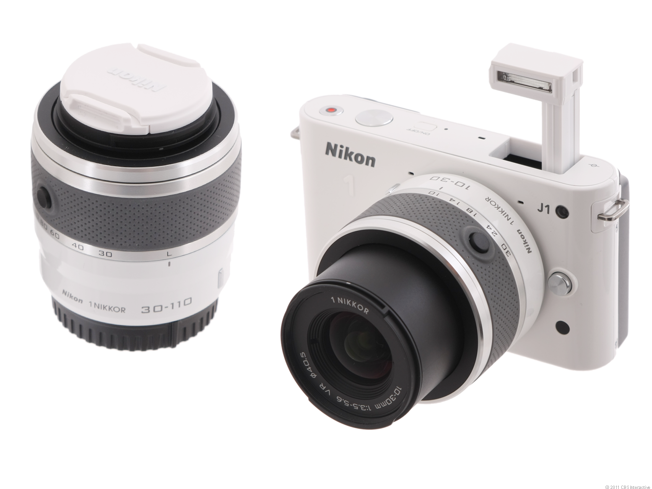 Nikon 1 J1 (with 10-30mm and 30-110mm lenses, White)