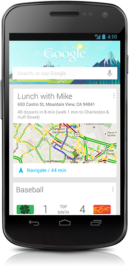 Google Now attempts to present relevant information, automatically, when you need it. Examples here include a meeting and results from a game.