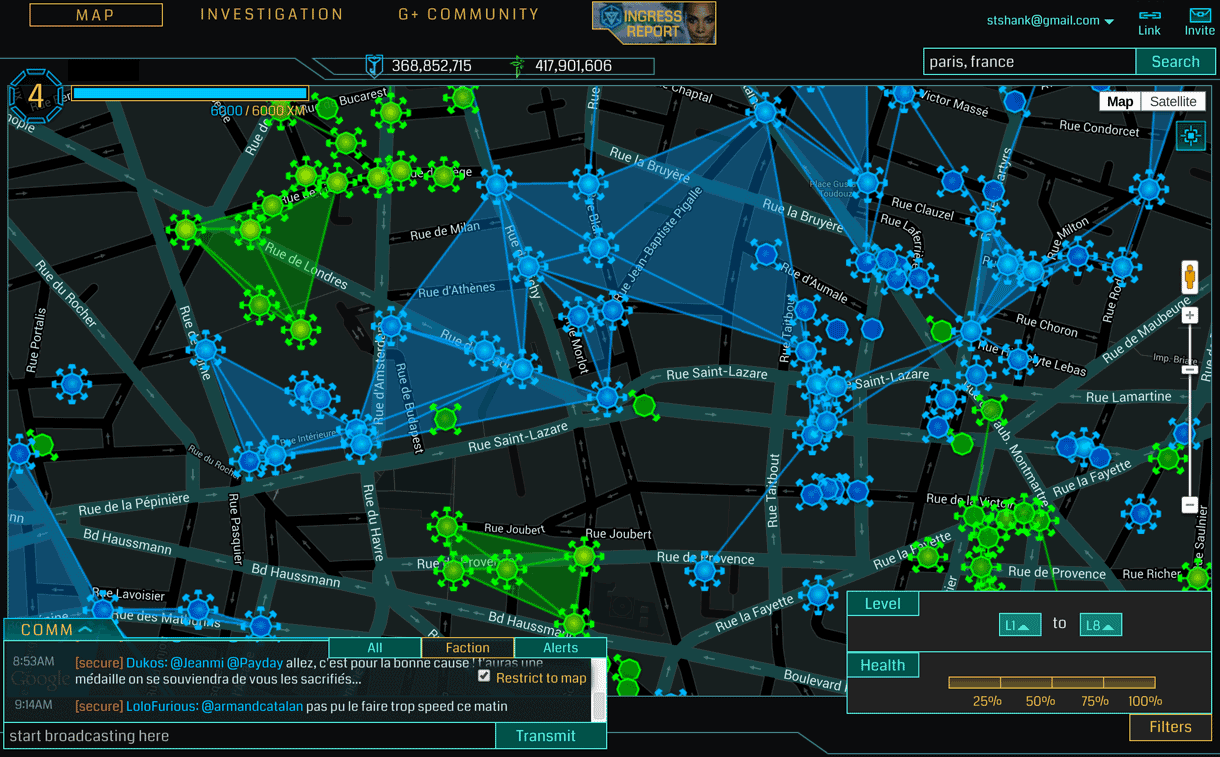 Ingress allows players from two teams to capture special spots called portals and then link them to enclose areas.