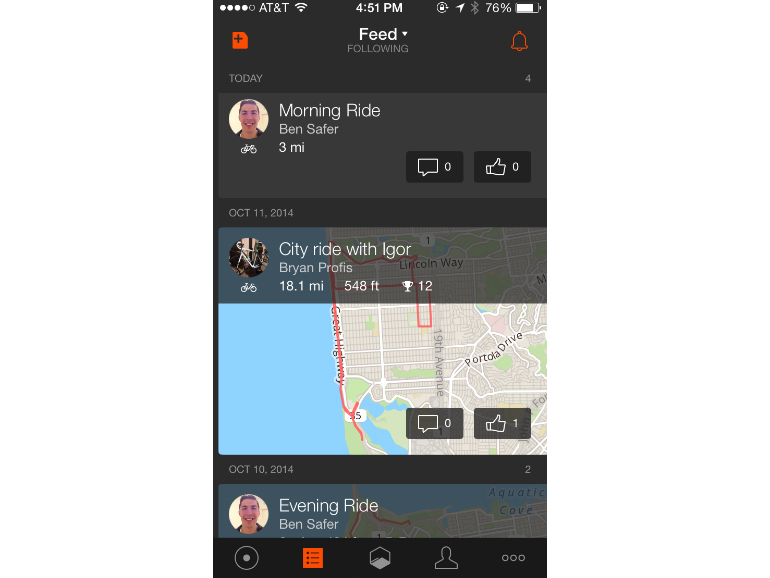 An activity app for runners and cyclists