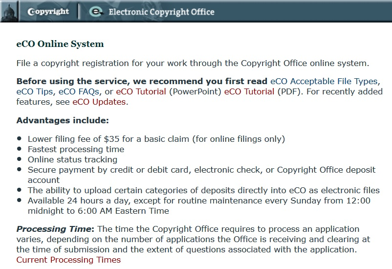 Electronic Copyright Office site