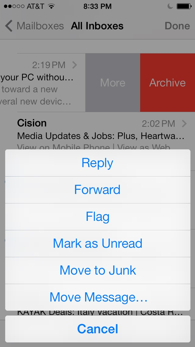 iOS 7 mail options