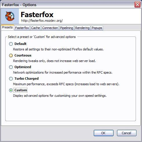 The Options dialog in the Fasterfox add-in for the Firefox browser