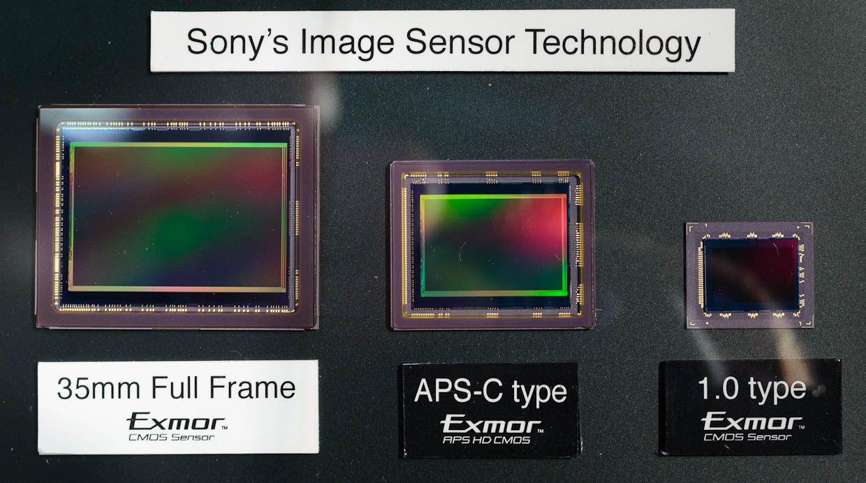 This display by Sony shows the comparative size of full-frame sensors, a 36x24mm size drawn from the days of 35mm film photography, an APS-C sensor used in entry-level to midrange SLRs, and a smaller sensor that still is much larger than most used in compact cameras.