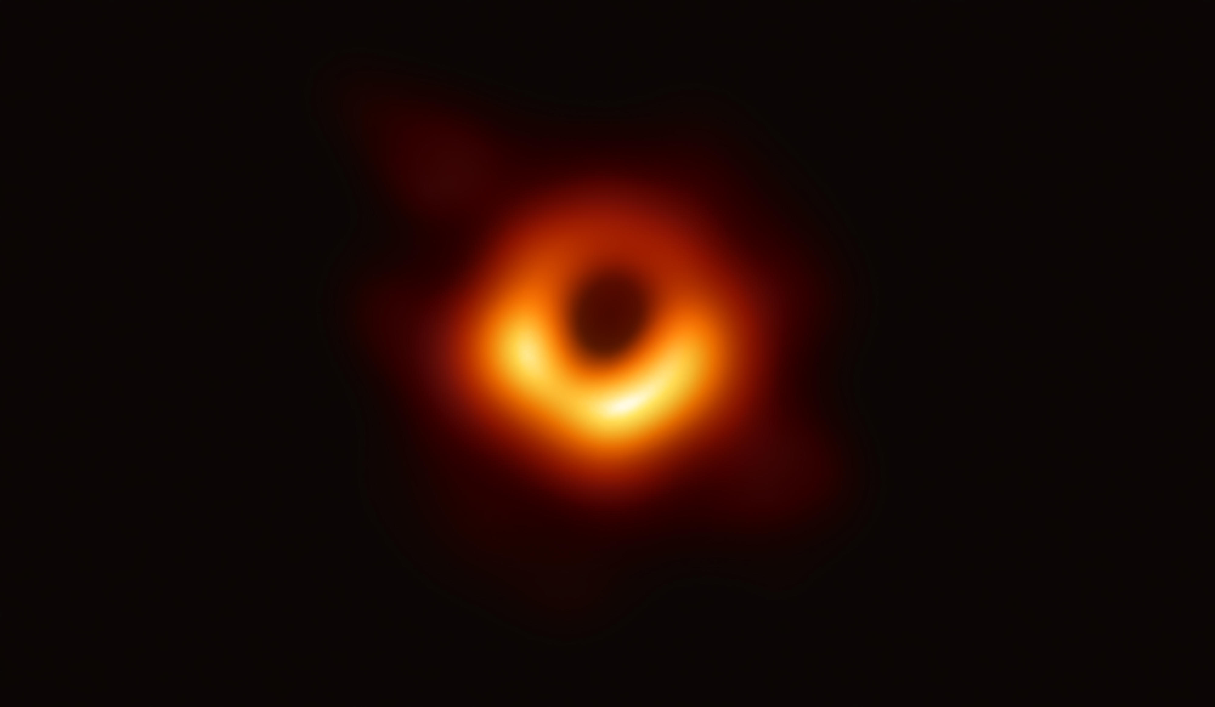 The first-ever image of a black hole, captured with the planetwide virtual array called the Event Horizon Telescope