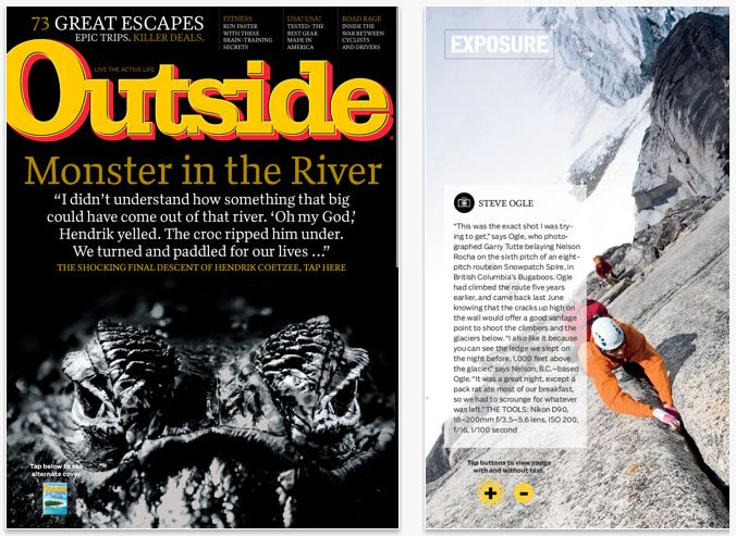 Outside uses Adobe's publishing app to produce an iPad version of the magazine.