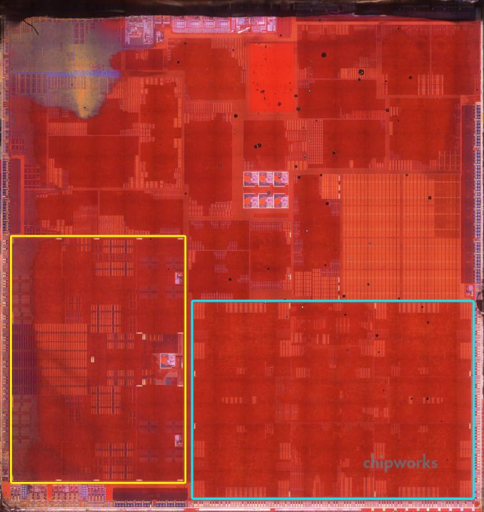 Die photo of A7: Anandtech speculates that blocks within the yellow border comprise the dual-core Apple A7 CPU.