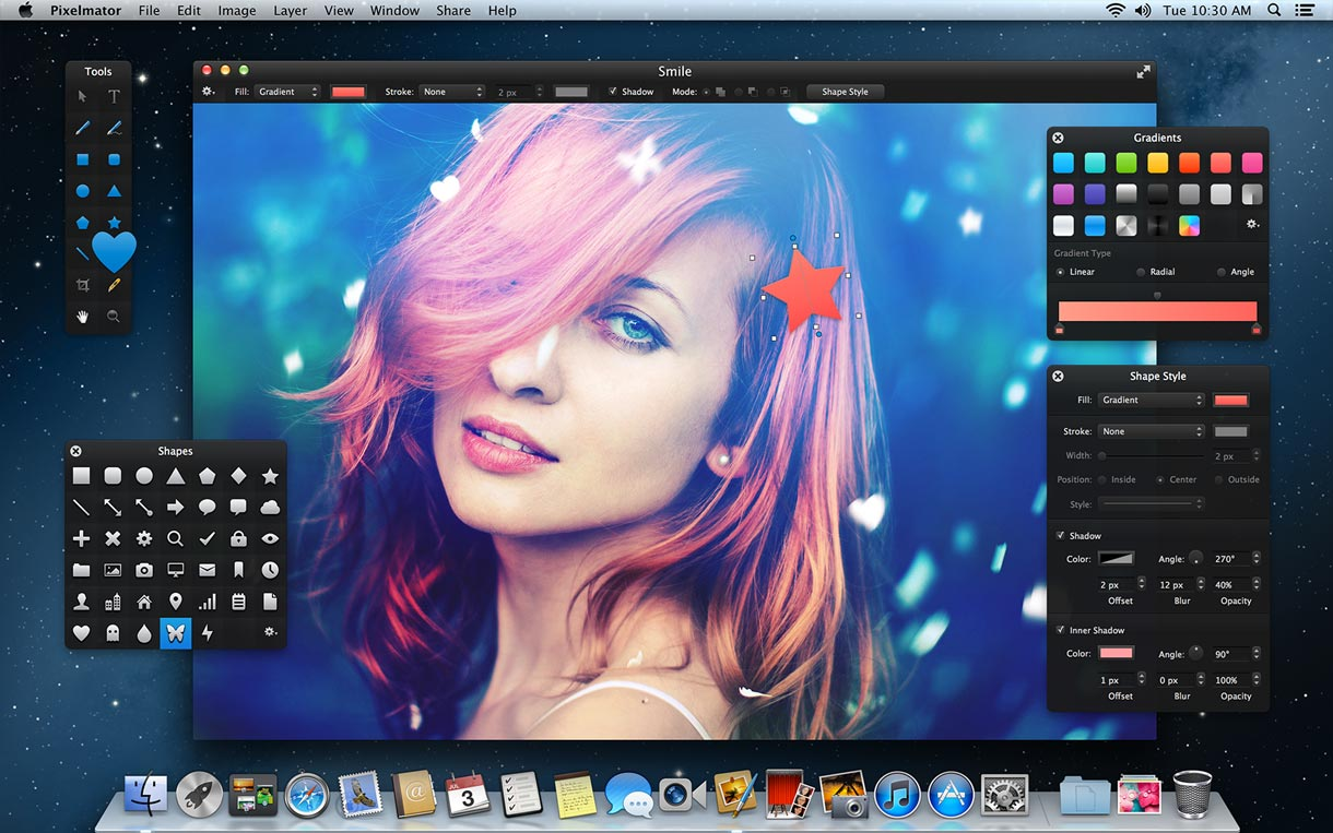 Pixelmator, an image editor that now has vector-editing tools as well, is a Mac-only competitor to Adobe Photoshop.