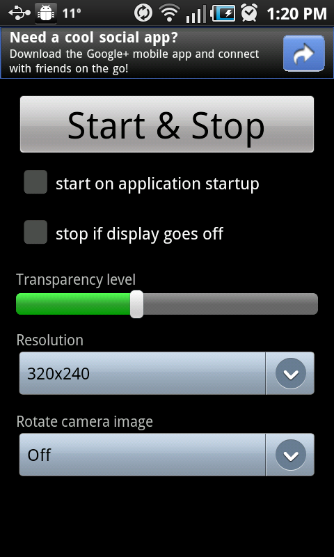 Step 3: Start, stop and choose settings for Transparent Screen.