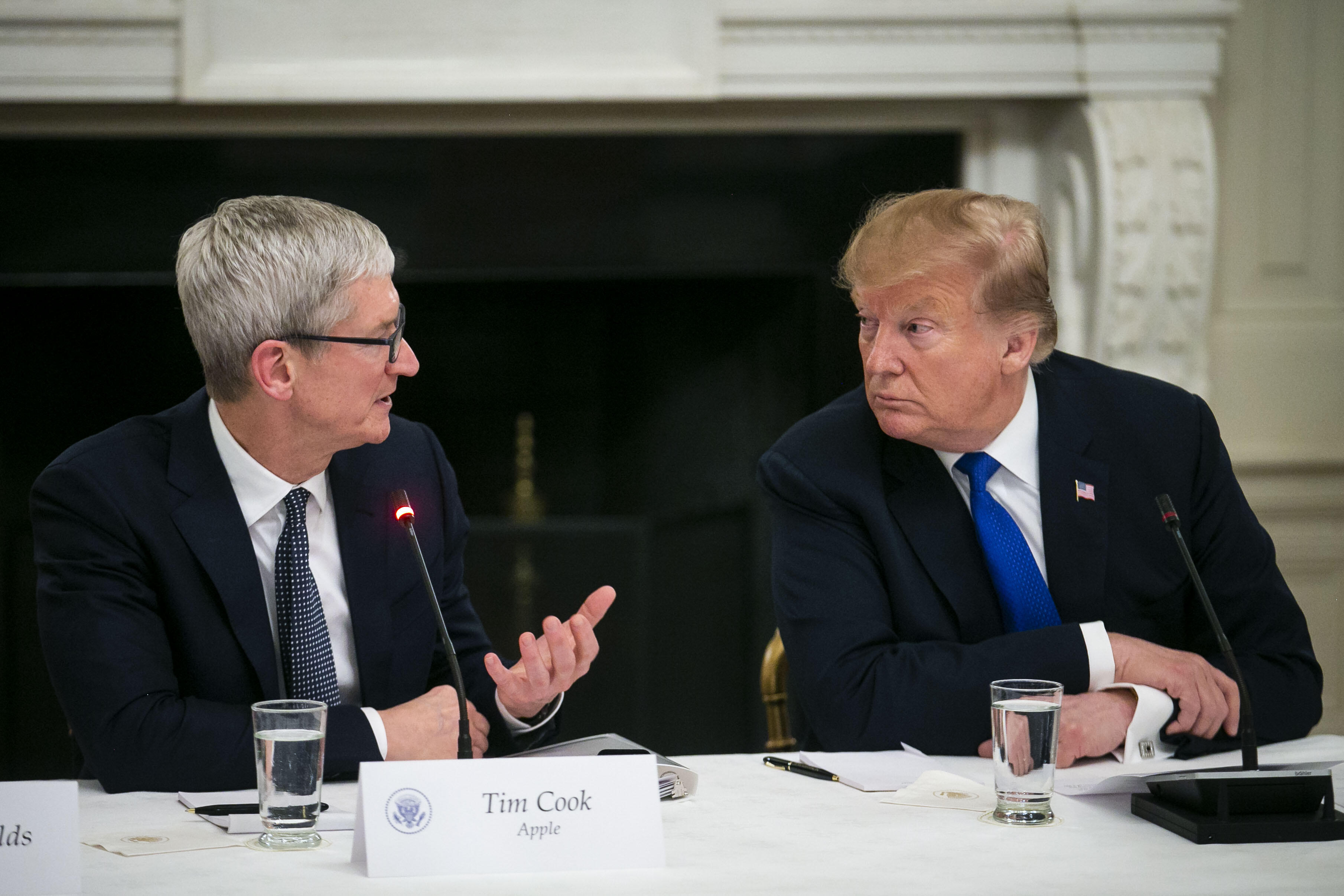 Apple CEO Tim Cook and President Donald Trump in March 2019