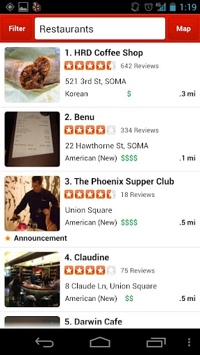 Yelp finds restaurants (and other businesses) near you and tells you at-a-glance if they're any good.