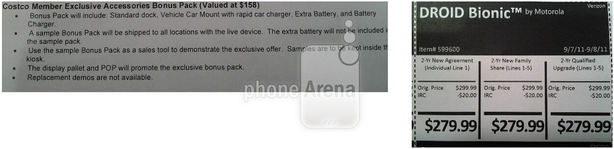 A leaked document listing the Droid Bionic bundle Costco deal