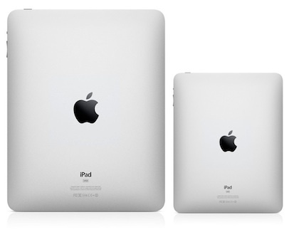 A mockup of what a smaller iPad might look like from the back.