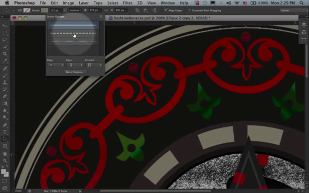 Photoshop CS6 will get the ability to endow lines with vector styling such as dashes.