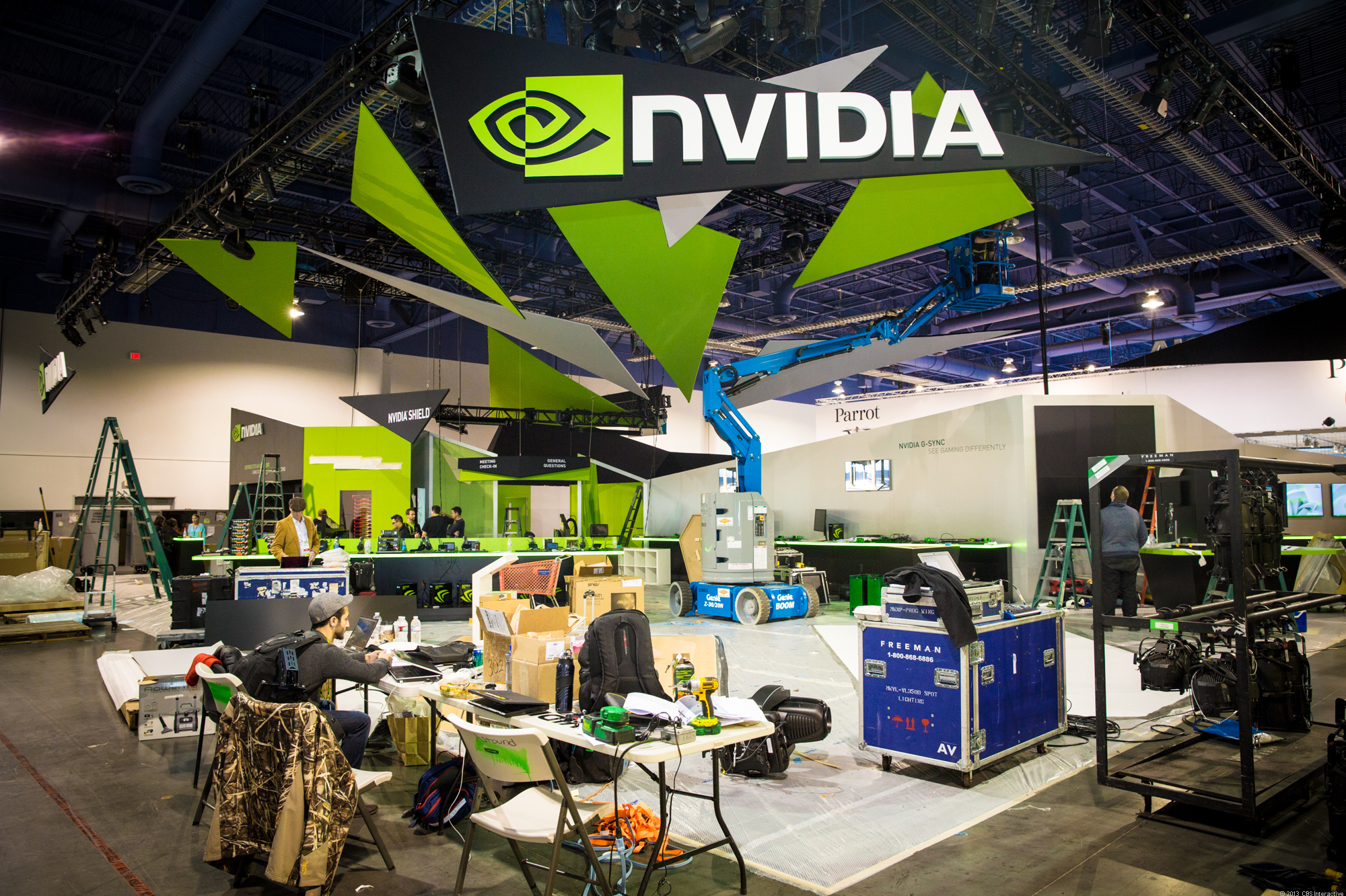 Nvidia booth getting set for CES