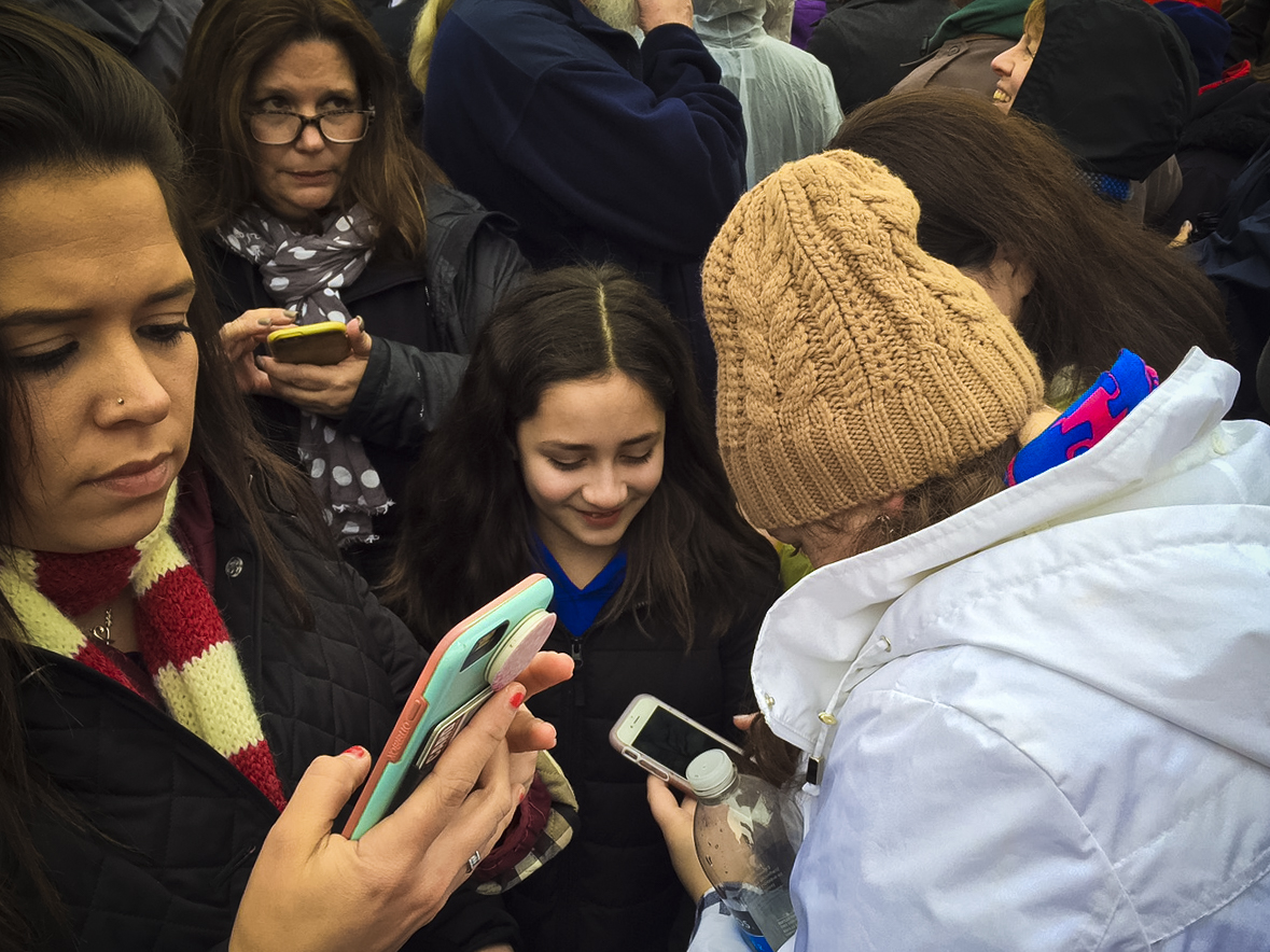 Phones were out in full force as Donald Trump was sworn in as the 45th president of the US.