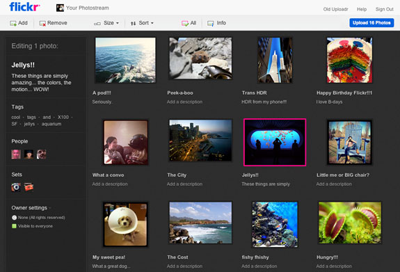 Flickr's new upload site is a much more advanced and versatile tool than its basic predecessor, letting people tag, title, caption, and sort photos before they're actually published.