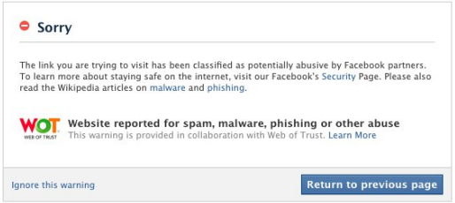 Facebook is now warning users when a link they are clicking on appears to lead to malware.