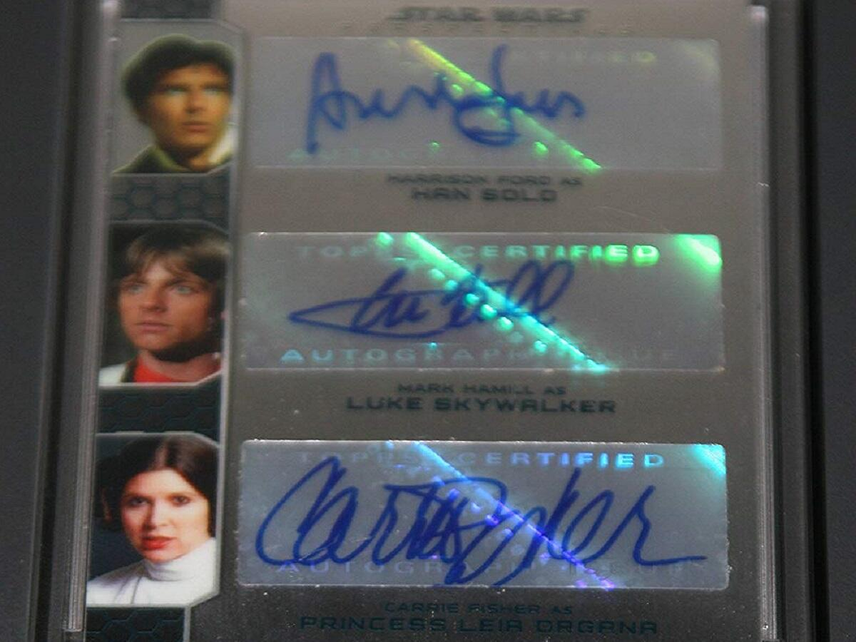 """2014 Star Wars """"Chrome Perspectives"""" Triple Autograph Card"""