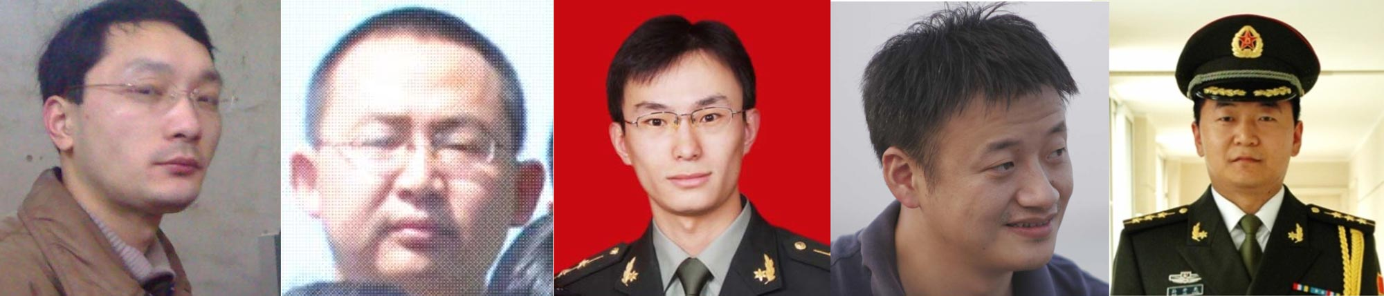The US accused five Chinese military officers of cyberespionage. From left to right: Wen Xinyu, Wang Dong, Gu Chunhui, Huang Zhenyu, and Sun Kailiang.