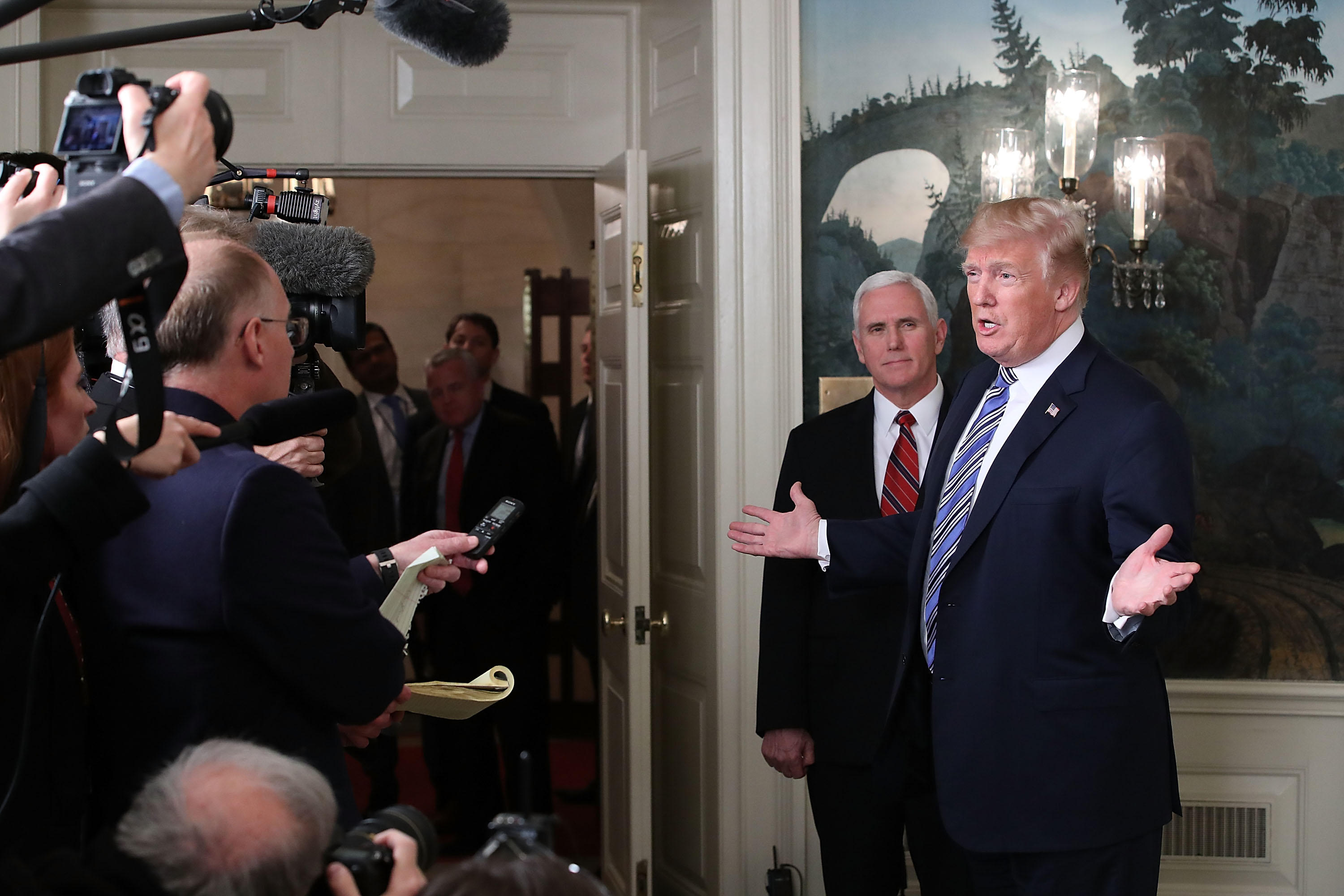 President Donald Trump speaks to the press about the $1.3 trillion spending bill passed by Congress early Friday.