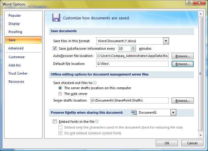 The Save settings in Microsoft Word 2007